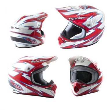 CAPACETE TROY LEE DESIGNS SE BOLT MX VERM./BRANCO T-M