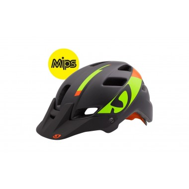 CAPACETE GIRO FEATURE MIPS 2016 MATTE BLACK/LIME FLAMES T-M