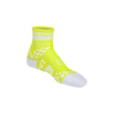 MEIAS COMPRESSPORT RACING SOCKS V2 BIKE T-4 BRANCO/AMARELO